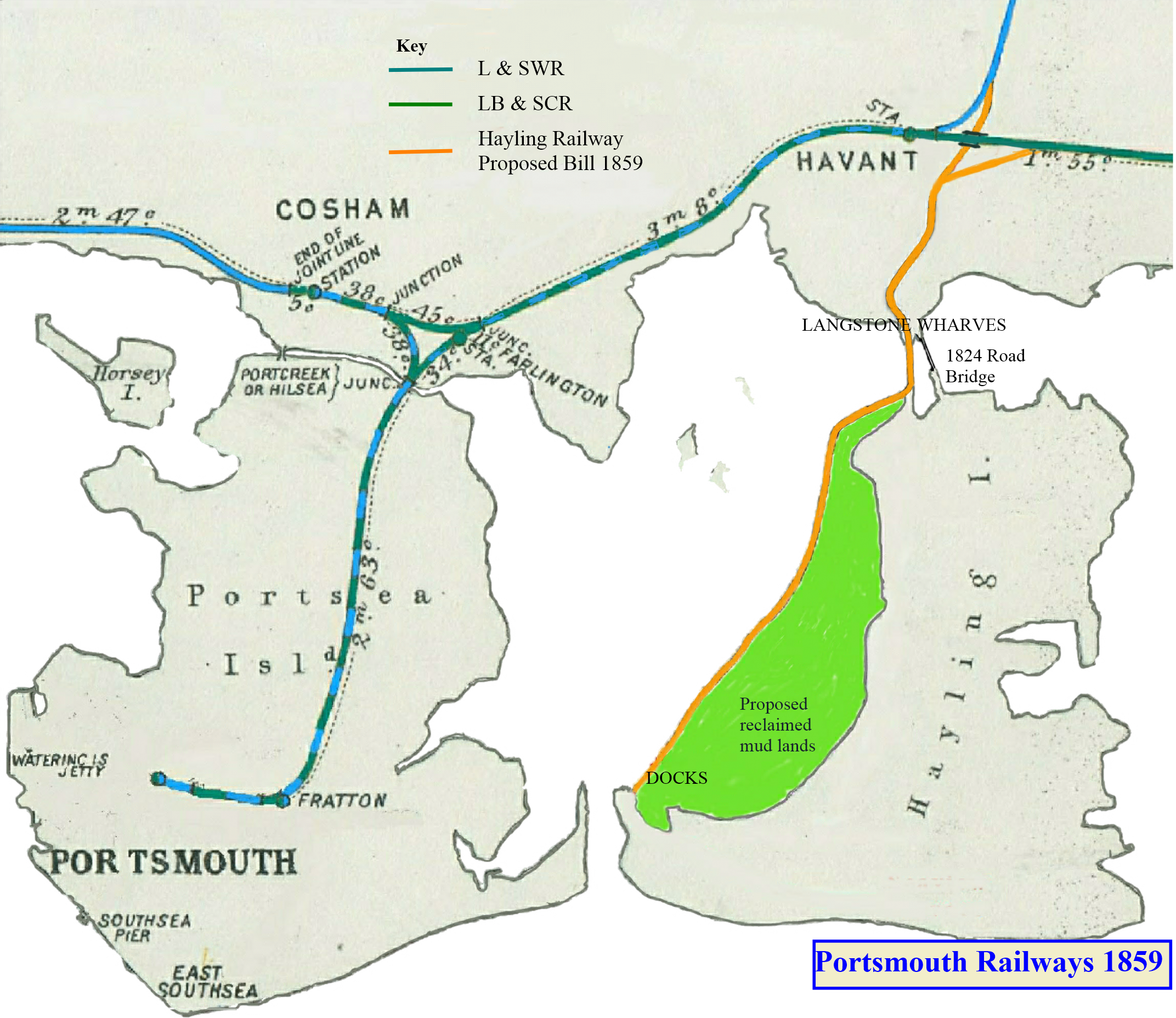 This image is a map showing the Hayling branch line from the Brighton and Waterloo main lines to a new docks facility to be built near the Portsmouth to Hayling Ferry, as authorised by the 1860 Act of Parliament.