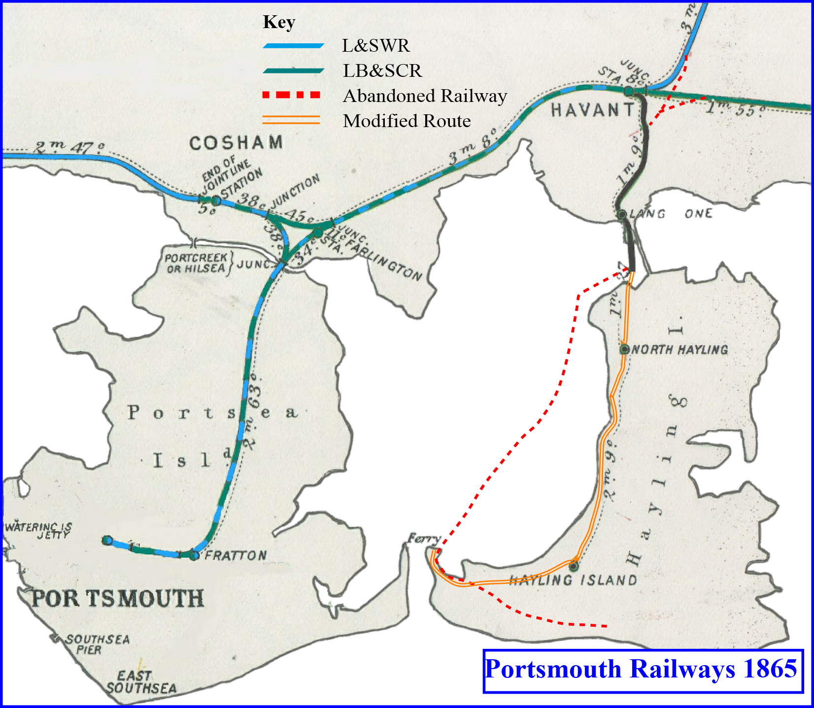 This image is a map describing Bill to Parliament to abandon the 1860 railway route from the bridge with a new route following the coastline.