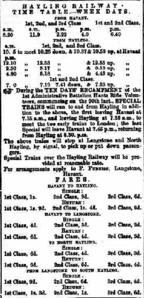 Hayling Railway timetable and fares Portsmouth-Times-and-Naval-Gazette-Saturday-05-September-1868