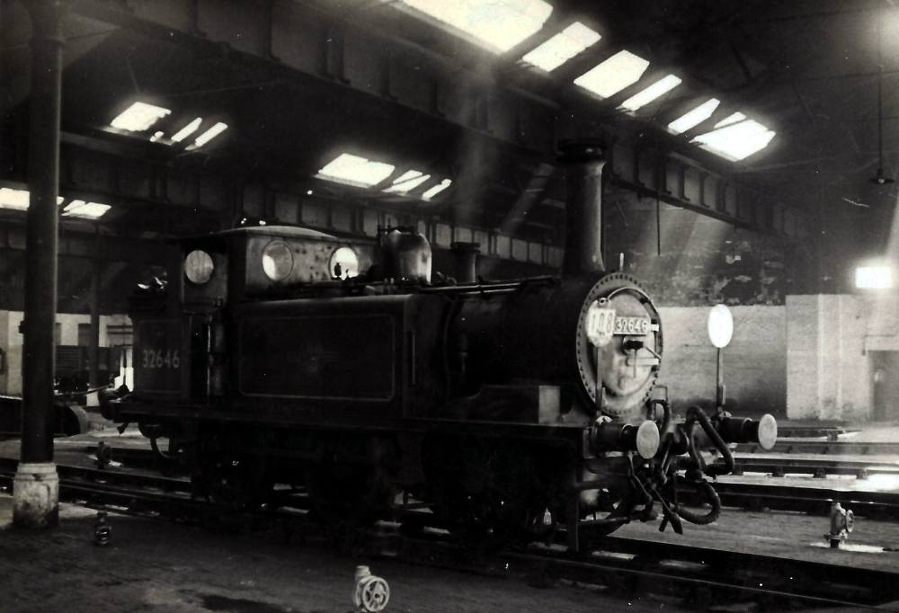 Terrier 32646 on shed at Fratton May 1963. Michael harvey collection