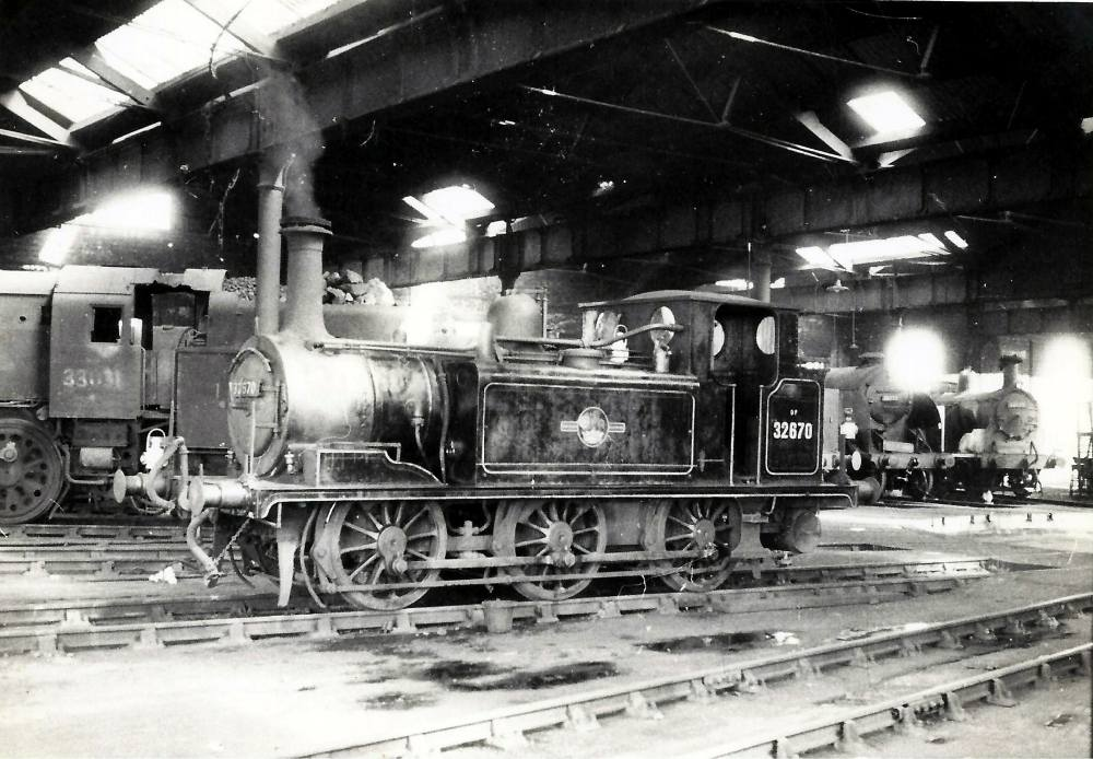 Terrier 32670 on shed at Fratton July 1963. Michael Harvey collection