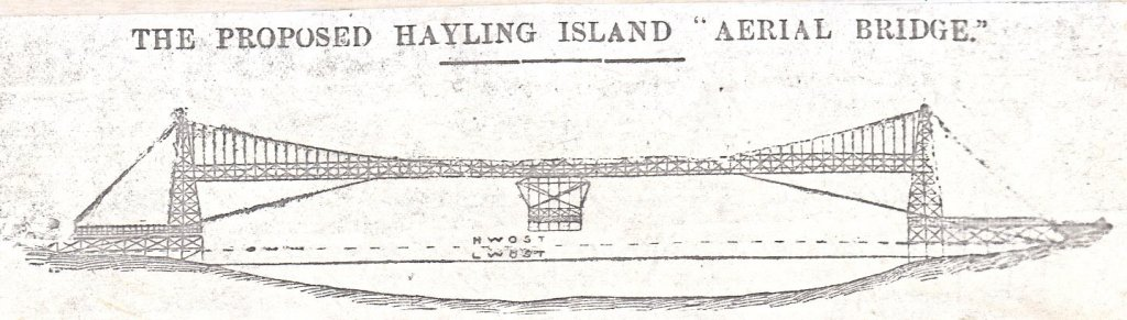 1903 proposal for a Conveyor Bridge to link Portsmouth to Hayling Island across the harbour entrance