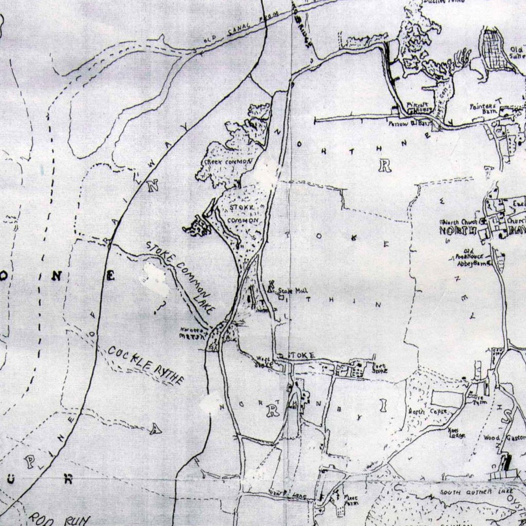 This is an extract from an 1864 Map of Hayling Island. It extends from the 1824 road bridge in the north to Stoke village to the south. It also shows the route of the proposed railway running on an embankment in Langstone Harbour. Two ares of Common Land are present, Creek Common to the north and Stoke Common just to the west of Stoke village..The southern most point is West Lane