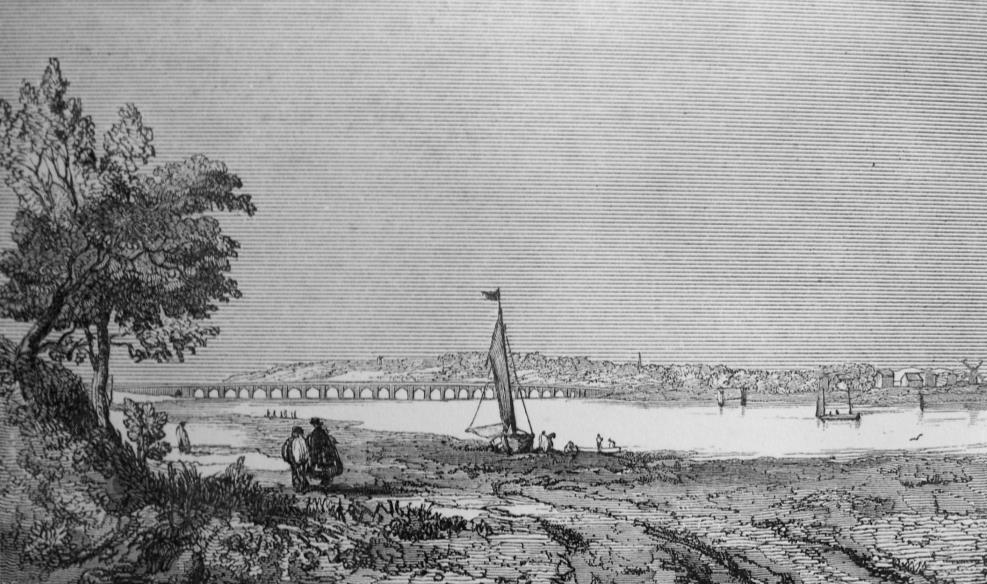 This image is an early engraving of the 1824 road bridge, viewed from North Hayling - Ralph Cousins