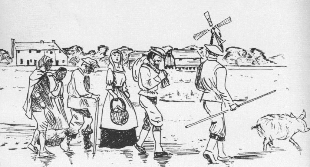 This image is a sketch of a group of people, crossing to North Hayling. One person is driving a pig along, Two are carrying items they have purchased and the remaining three people are following behind. In the background can be seen the Royal Oak Public House and the Tidal Mill which also has a windmill.within the complex.