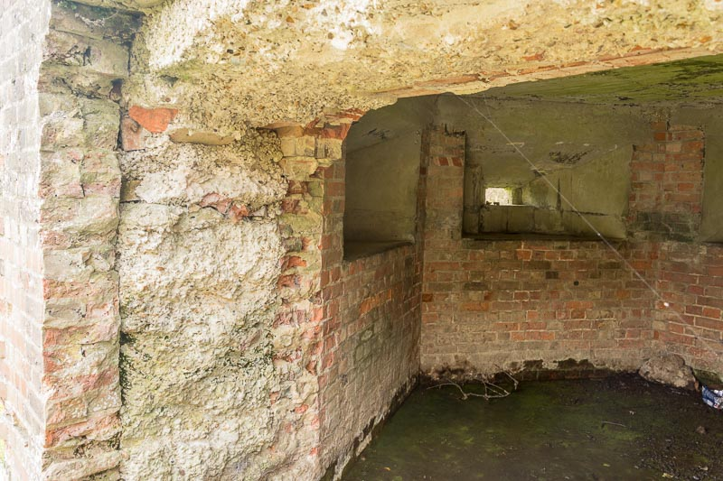 The interior showing the thickness of the walls and the gun emplacements giving a good steady arc of fire. - Peter Drury