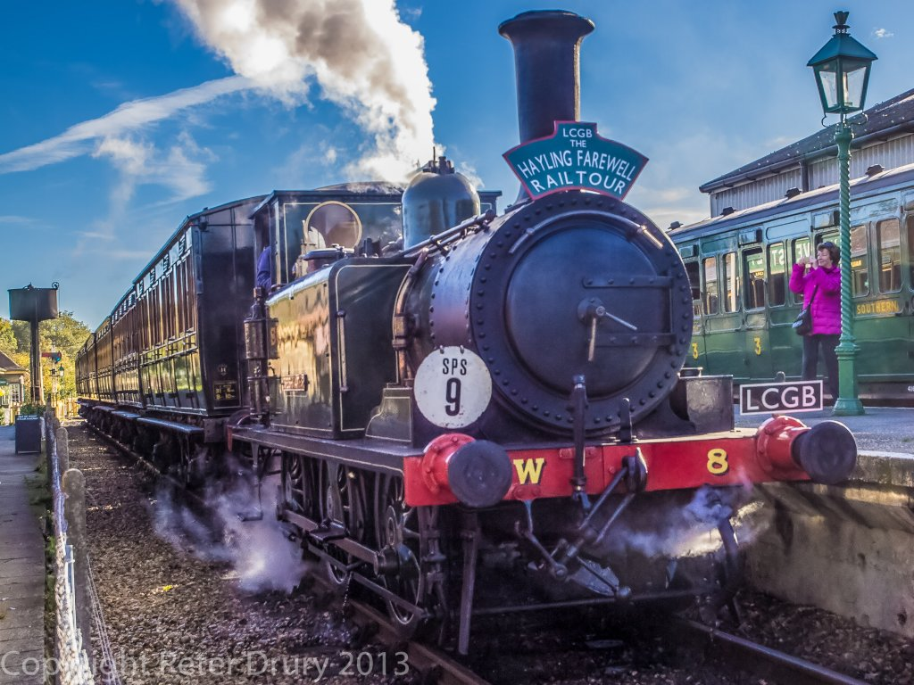 10 Nov 2013, No8 'Freshwater' at Havenstreet. What a change from the constant rain of yesterday. Wall to wall sunshine today. Image Peter Drury