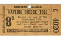 Southern Railway Hayling Road Bridge Toll Ticket – Bob Morley Collection