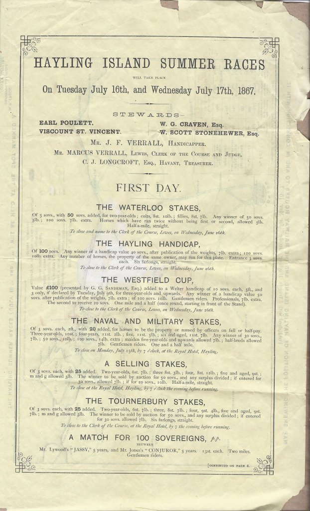 Triggs Guide 1867 Race program Day 1