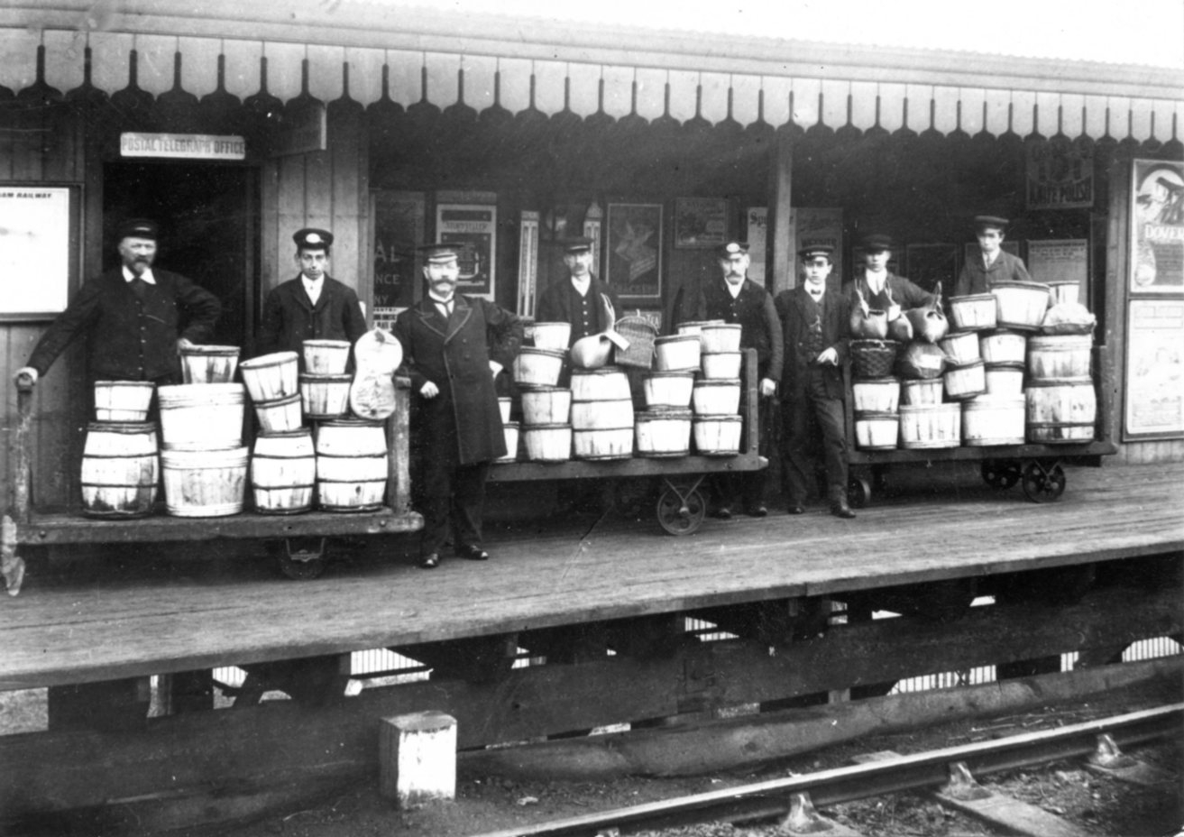 The Oyster Trade - Whitstable Town Station. Oysters awaiting shipment at Whistable Town Station. Photo from the Douglas West Collection. Courtesy of Whitstable Museum.